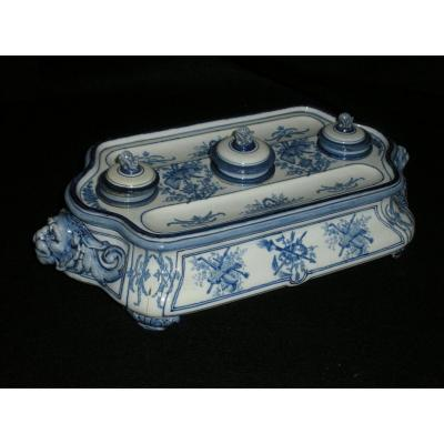 Gien Inkwell With Bérain Decor