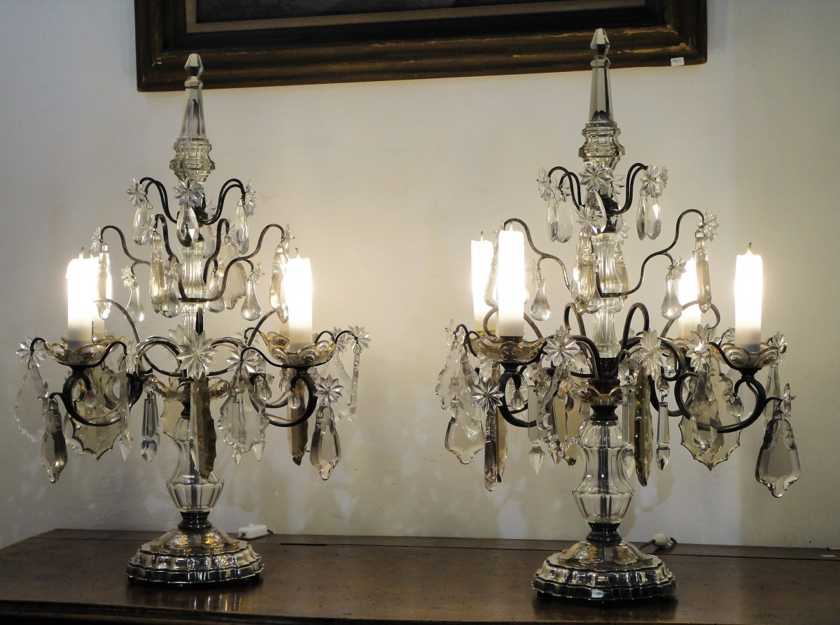 Pair Of Girandolles Crystal And Silver Metal 4 Lights