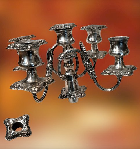 Pair Of Candelabra 5 Lights (silver Bronze)-photo-2