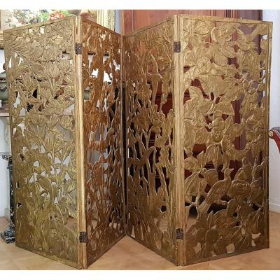Screen 4 Leaves (exotic Decorations Carved In The Wood)