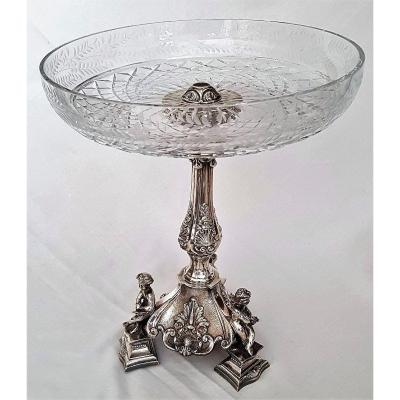 Center Table Crystal Cut And Silver Metal