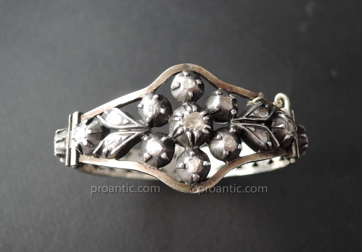 Bracelet Set With Diamonds Cut Rose, Silver.