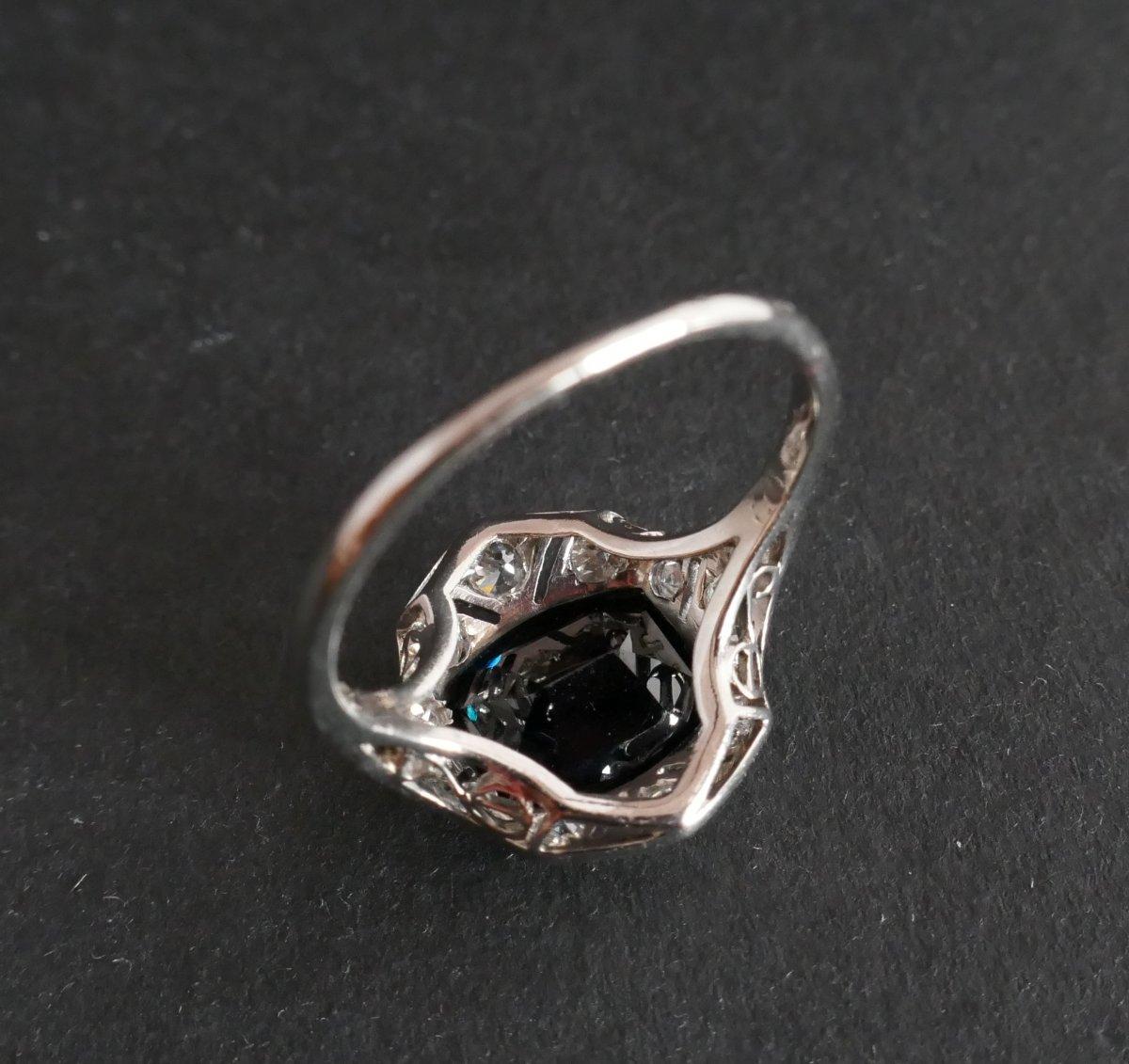 Bague Saphir et Diamants, Monture Platine.-photo-1