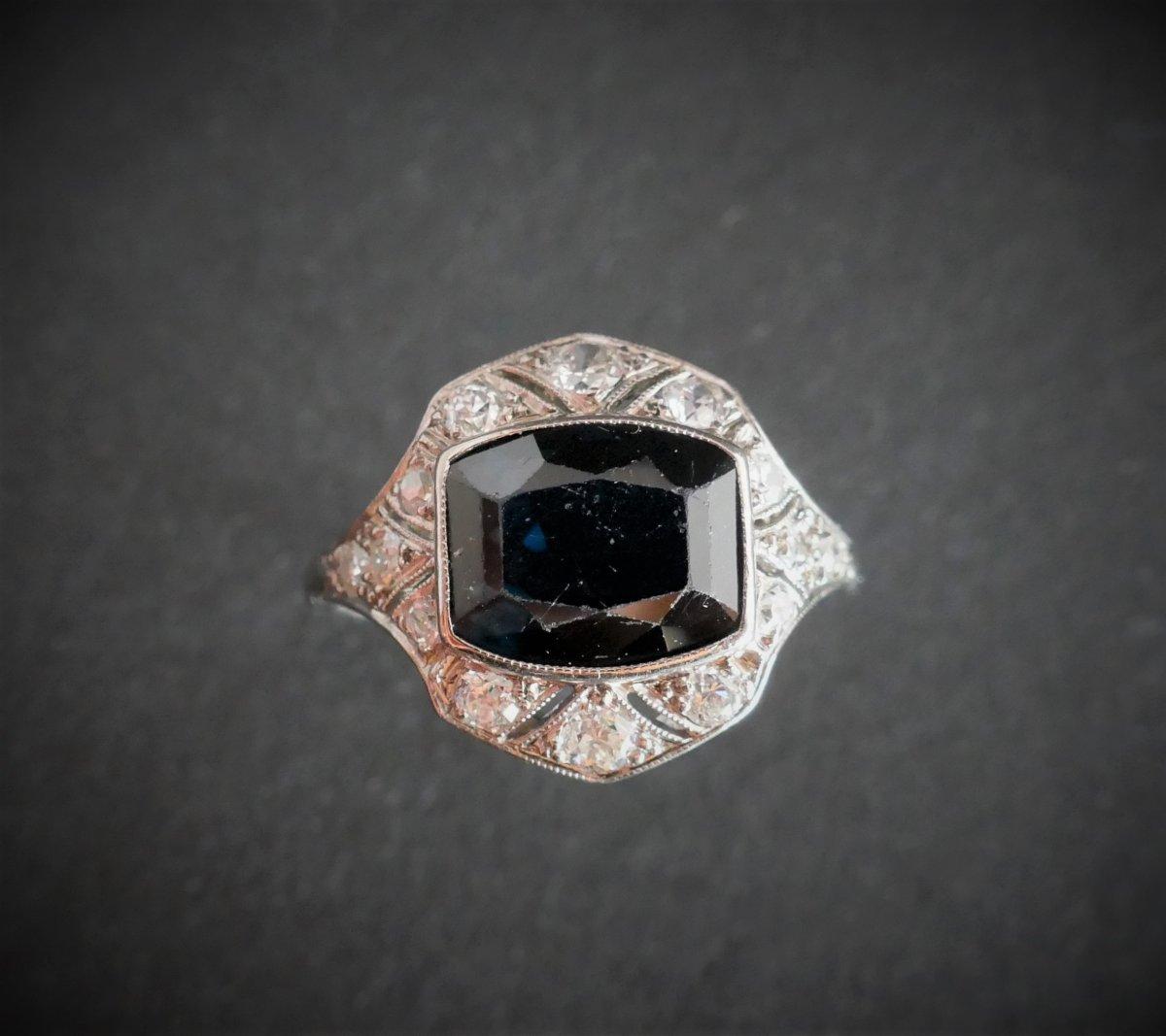 Bague Saphir et Diamants, Monture Platine.-photo-2