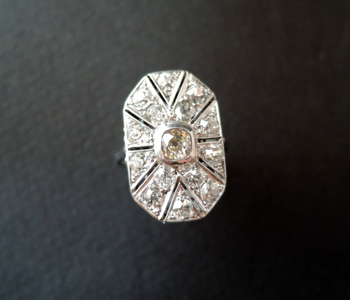 Art Deco Ring Paved With Diamonds.