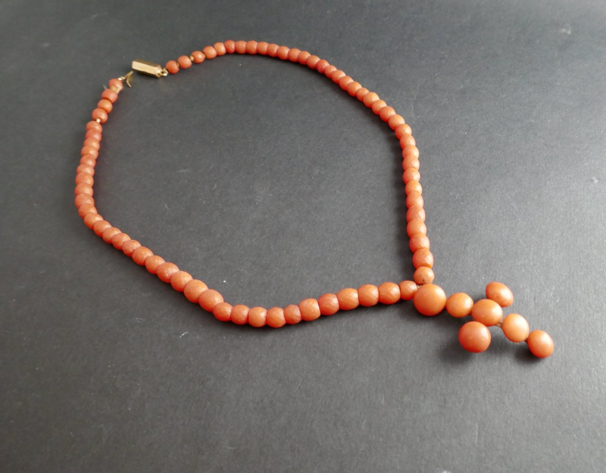Necklace Of Faceted Coral Beads And Coral Cross, Horse Head Hallmark.