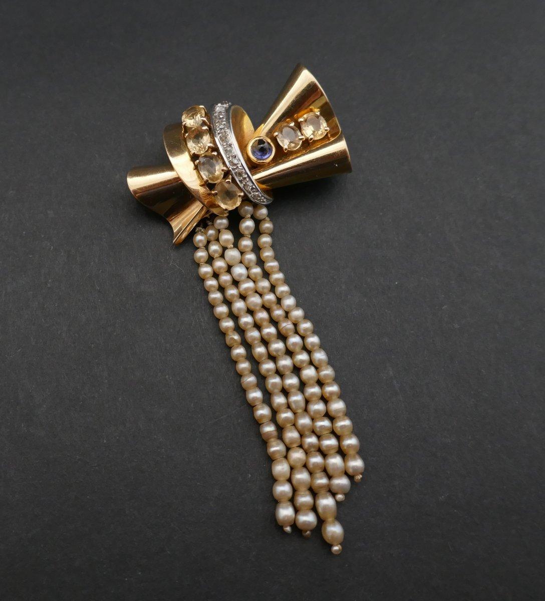 Broche Années 50' En Or Et Platine, Saphir, Citrines, Diamants Et Perles.