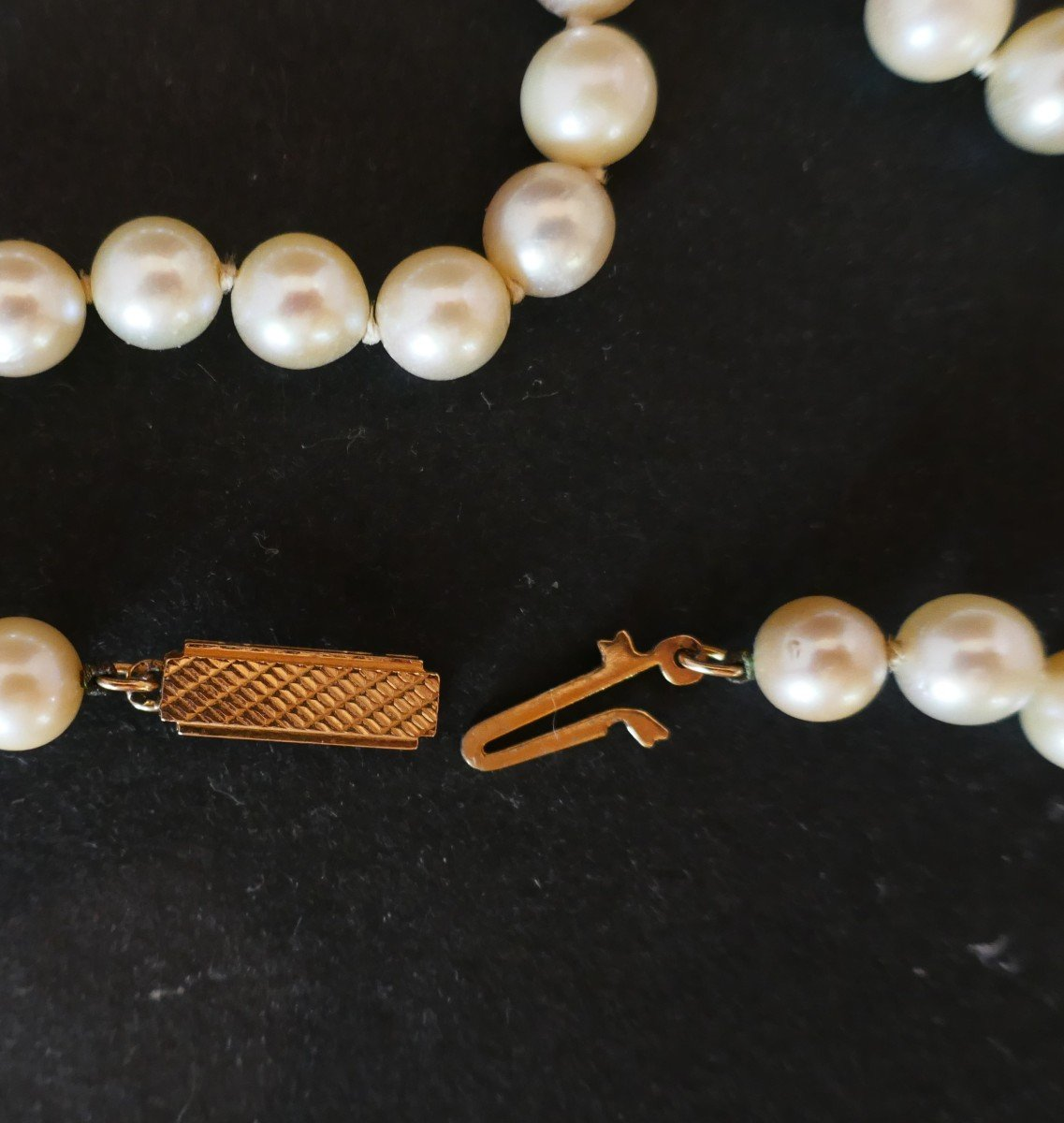 Cultured Pearl Necklace, 18k Yellow Gold Clasp.-photo-2