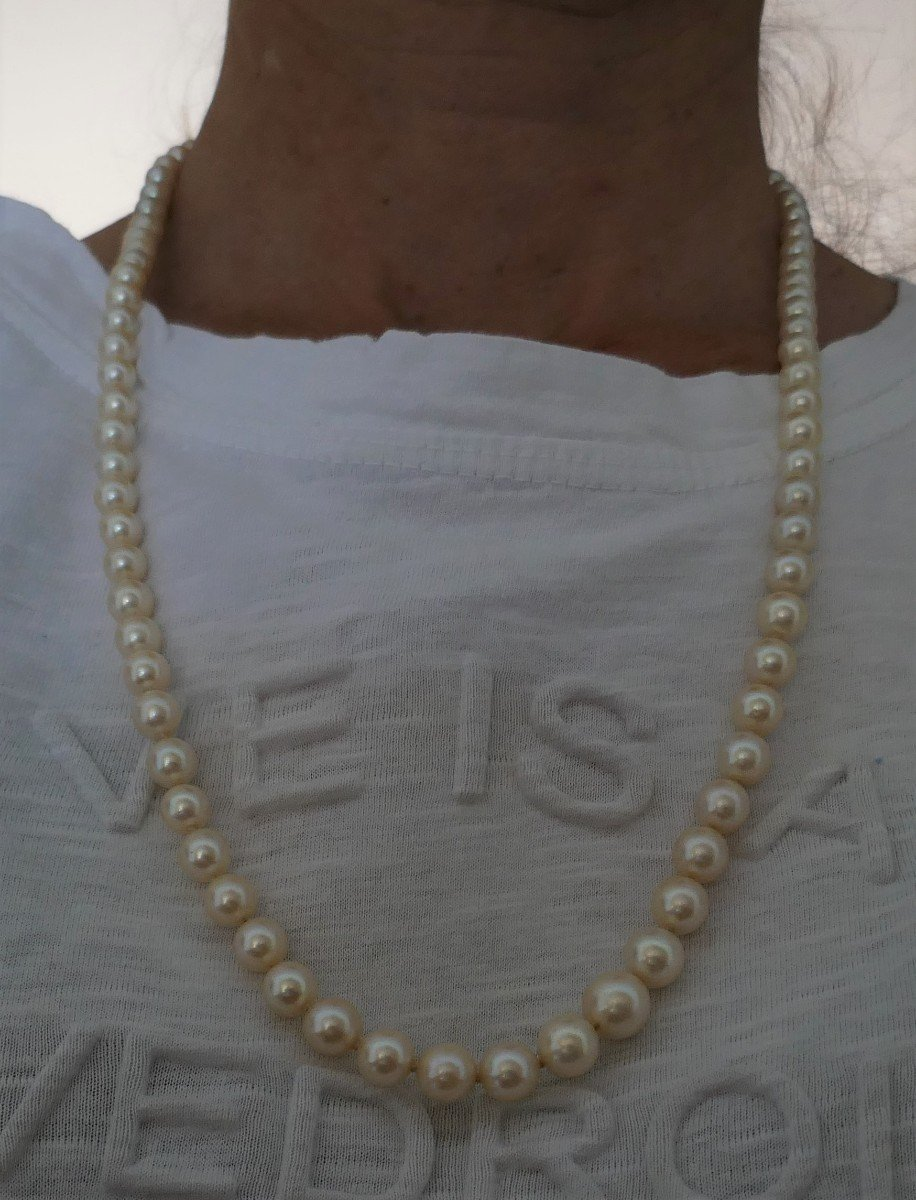 Cultured Pearl Necklace, 18k Yellow Gold Clasp.-photo-3