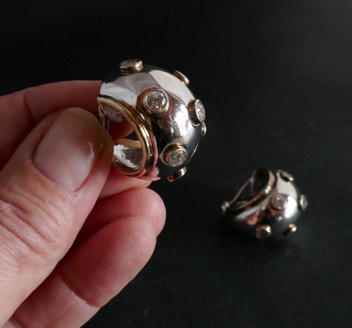 Boucles d'Oreilles Argent Et Pierres Blanches.-photo-2