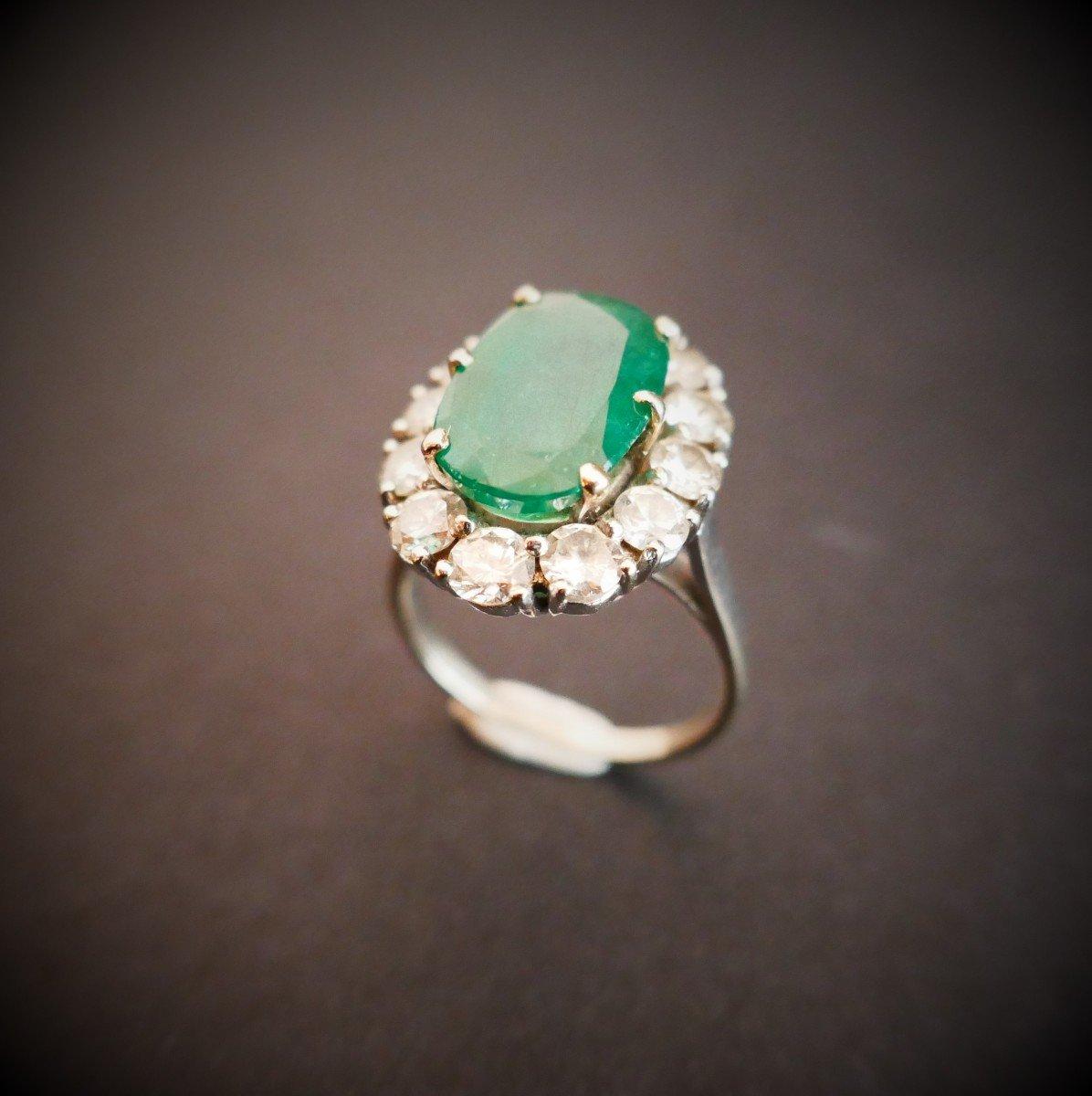 Bague émeraude Diamants, Or Blanc 18 Carats.-photo-2