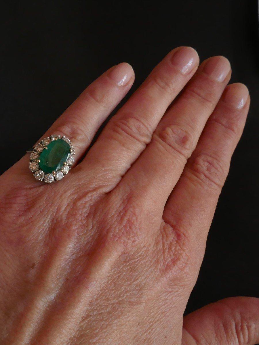 Bague émeraude Diamants, Or Blanc 18 Carats.-photo-3