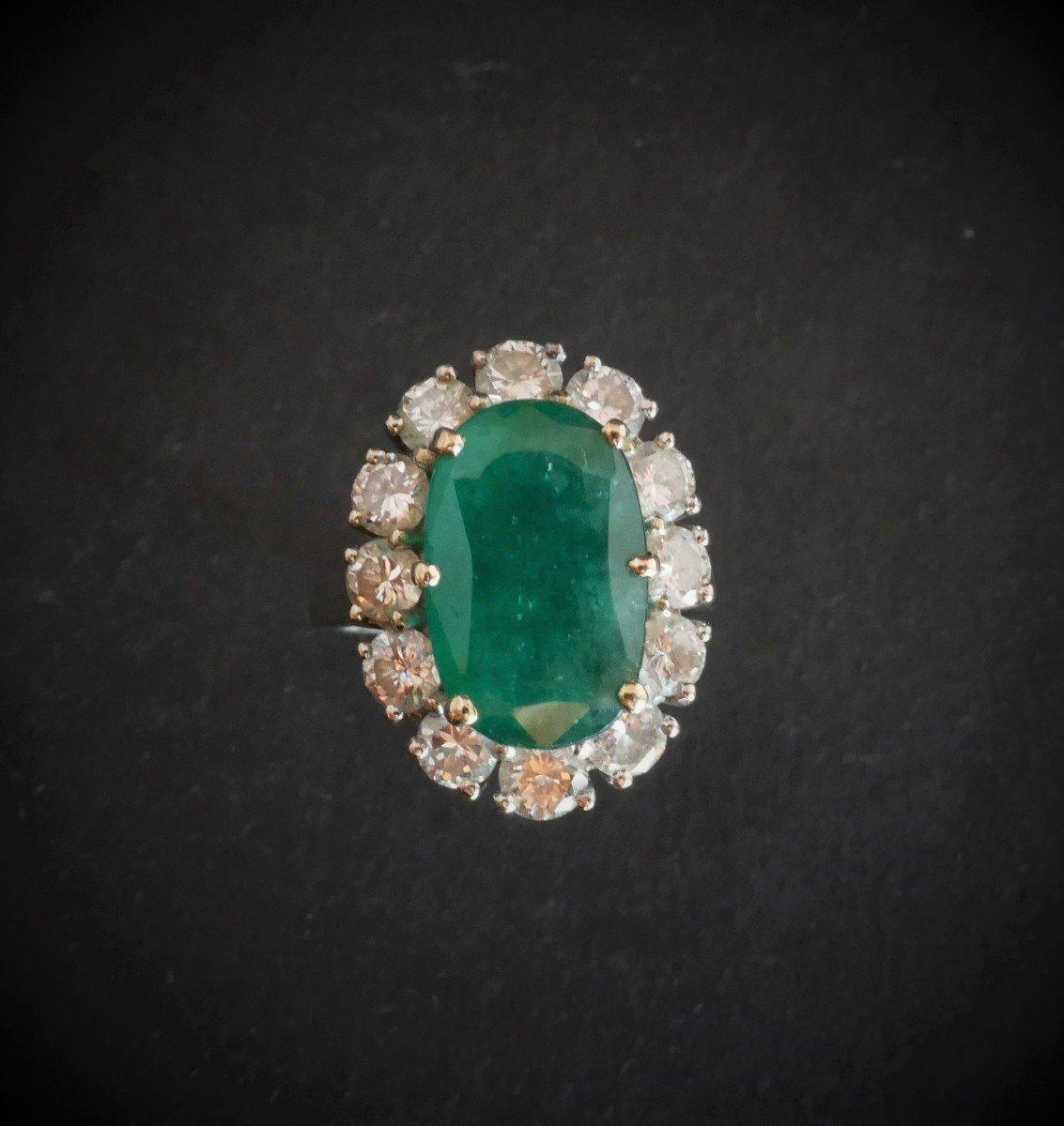 Bague émeraude Diamants, Or Blanc 18 Carats.-photo-4