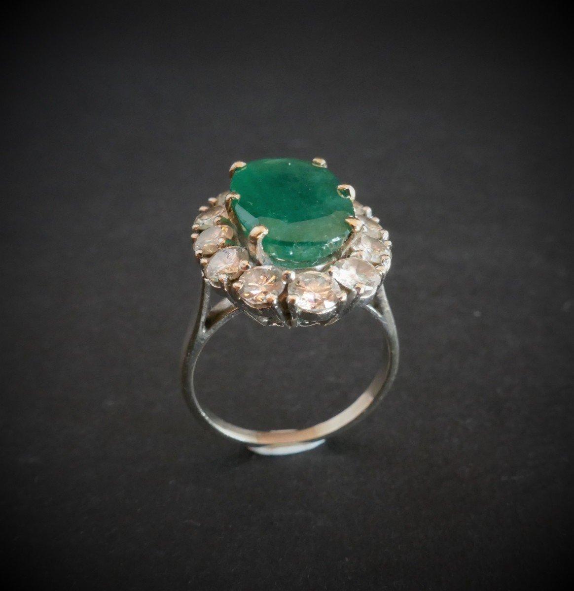 Bague émeraude Diamants, Or Blanc 18 Carats.-photo-1