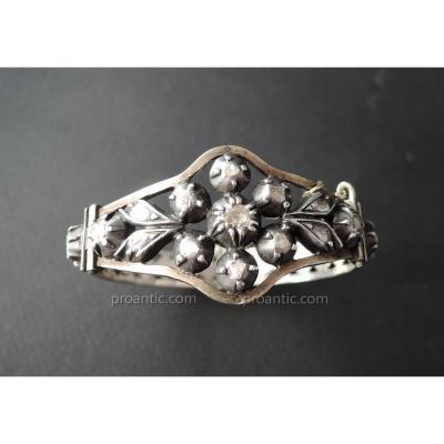 Bracelet Serti De Diamants Taillés En Rose, Argent.