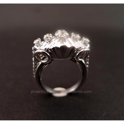 Bague Diamants, Or Blanc 18 Carat.