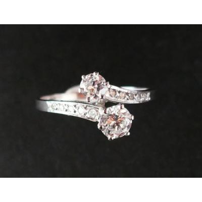 Bague Diamants  0.70 Carat, Or Blanc 18 Carats.