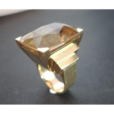 Importante Bague Citrine, Or Jaune 18 Carats.