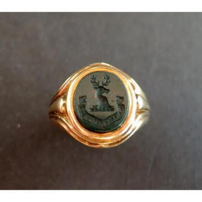Signet Ring Adorned With An Engraved Blood Jasper, 18k Gold.