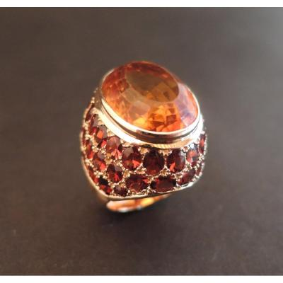 Important Citrine And Garnets Ring, 18k Rose Gold.