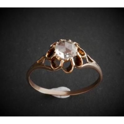 Bague Solitaire Diamant Taille Rose 0,50 Carat,  Or Rose 18 Carats.