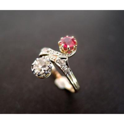 Bague Ancienne Diamants Et Rubis, XIXème