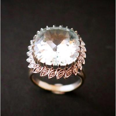 Large Aquamarine And Diamond Ring, 18k White Gold.