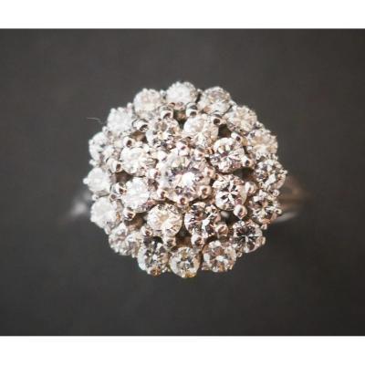 Bague 1,40 Carat Diamants, Or Blanc 18 Carats.