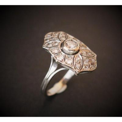 Bague Diamants, Art Déco, Or Blanc 18 Carats.