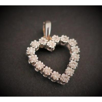 Heart Pendant Set With Diamonds, 18k White Gold.