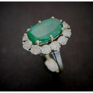 Bague émeraude Diamants, Or Blanc 18 Carats.