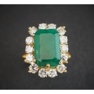 Bague  Emeraude Diamants, Or Jaune 18 Carats.