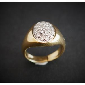 Bague Chevalière Diamants, Or Jaune 18 Carats.