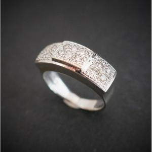 Bague Diamants, Or Blanc 18 Carats.