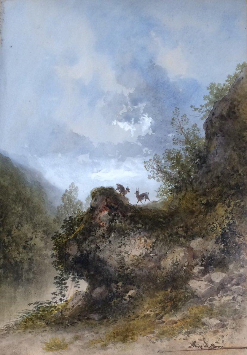 Gabriel Hippolyte Le Bas, Cerfs Dans Un Paysage