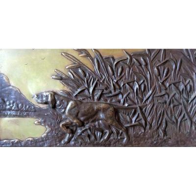 Plaque En Bronze à Décor De Chien De Chasse