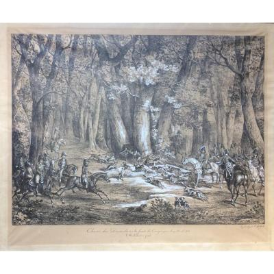 <br /> The hunts of the Duke of Berry<br /> Fallow deer hunting in the Compi&egrave;gne forest, April 27, 1818<br /> The standing hallali Lithograph by Fran&ccedil;ois Delpech (1778-1825) signed lower right, titled in the center<br /> &nbsp;