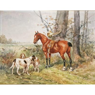 René Valette, Horse And Dogs In The Forest