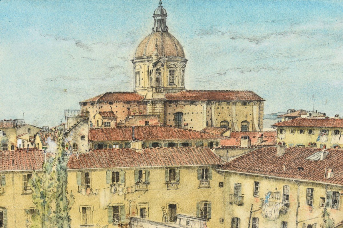 Watercolor Painting View Of Florence In Italy Signed James Reeve (1939)-photo-3