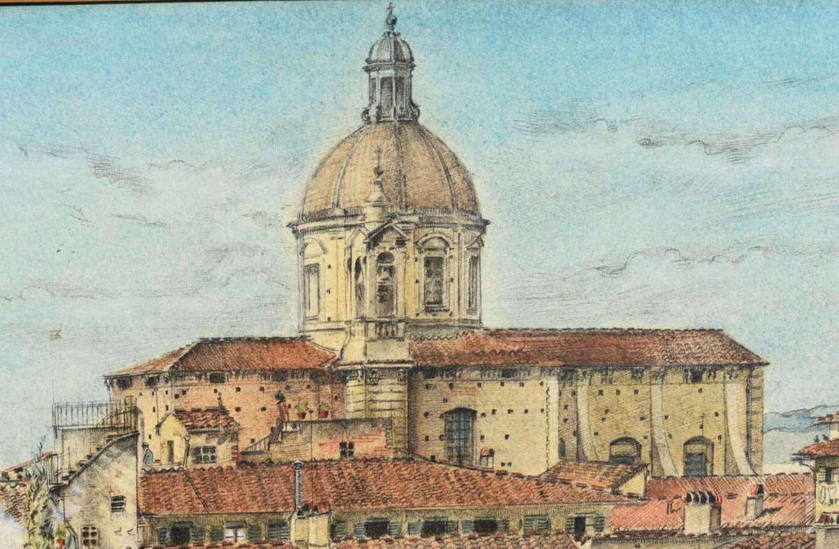 Watercolor Painting View Of Florence In Italy Signed James Reeve (1939)-photo-4