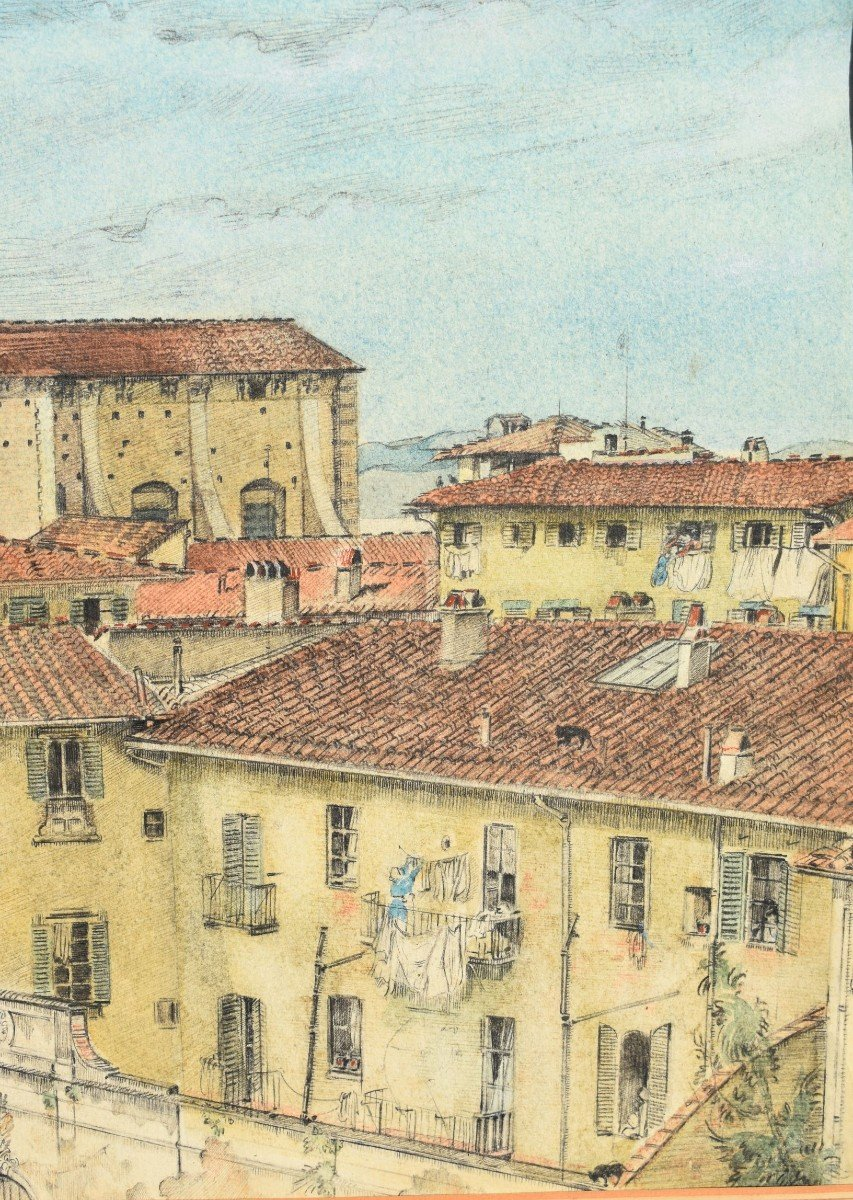 Watercolor Painting View Of Florence In Italy Signed James Reeve (1939)-photo-1