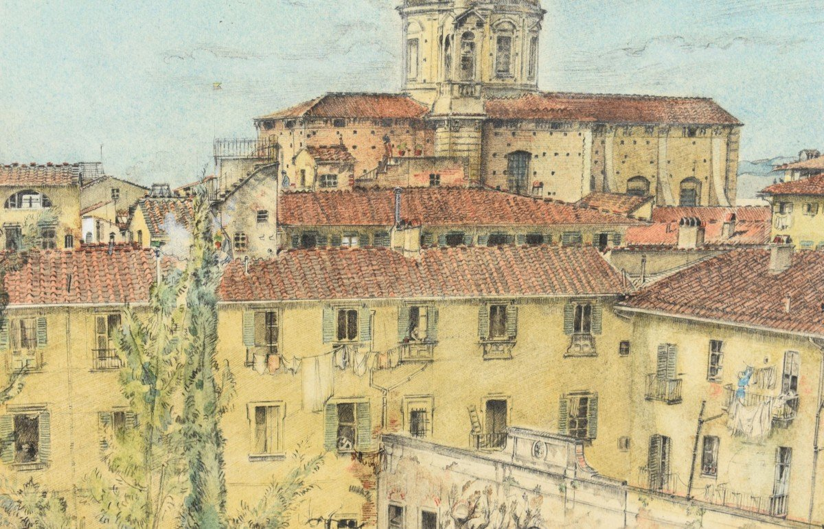 Watercolor Painting View Of Florence In Italy Signed James Reeve (1939)-photo-2