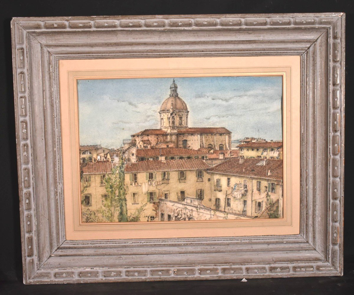 Watercolor Painting View Of Florence In Italy Signed James Reeve (1939)-photo-8