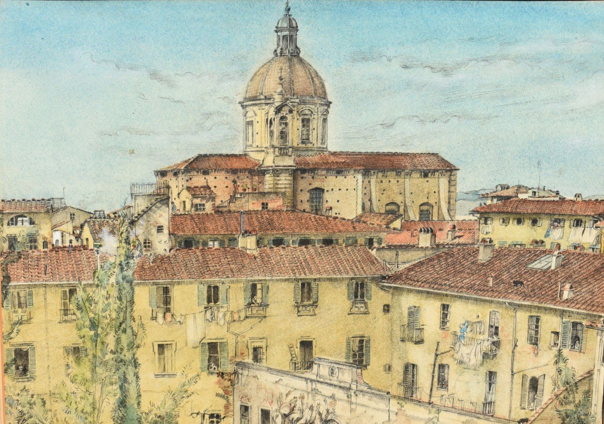 Watercolor Painting View Of Florence In Italy Signed James Reeve (1939)