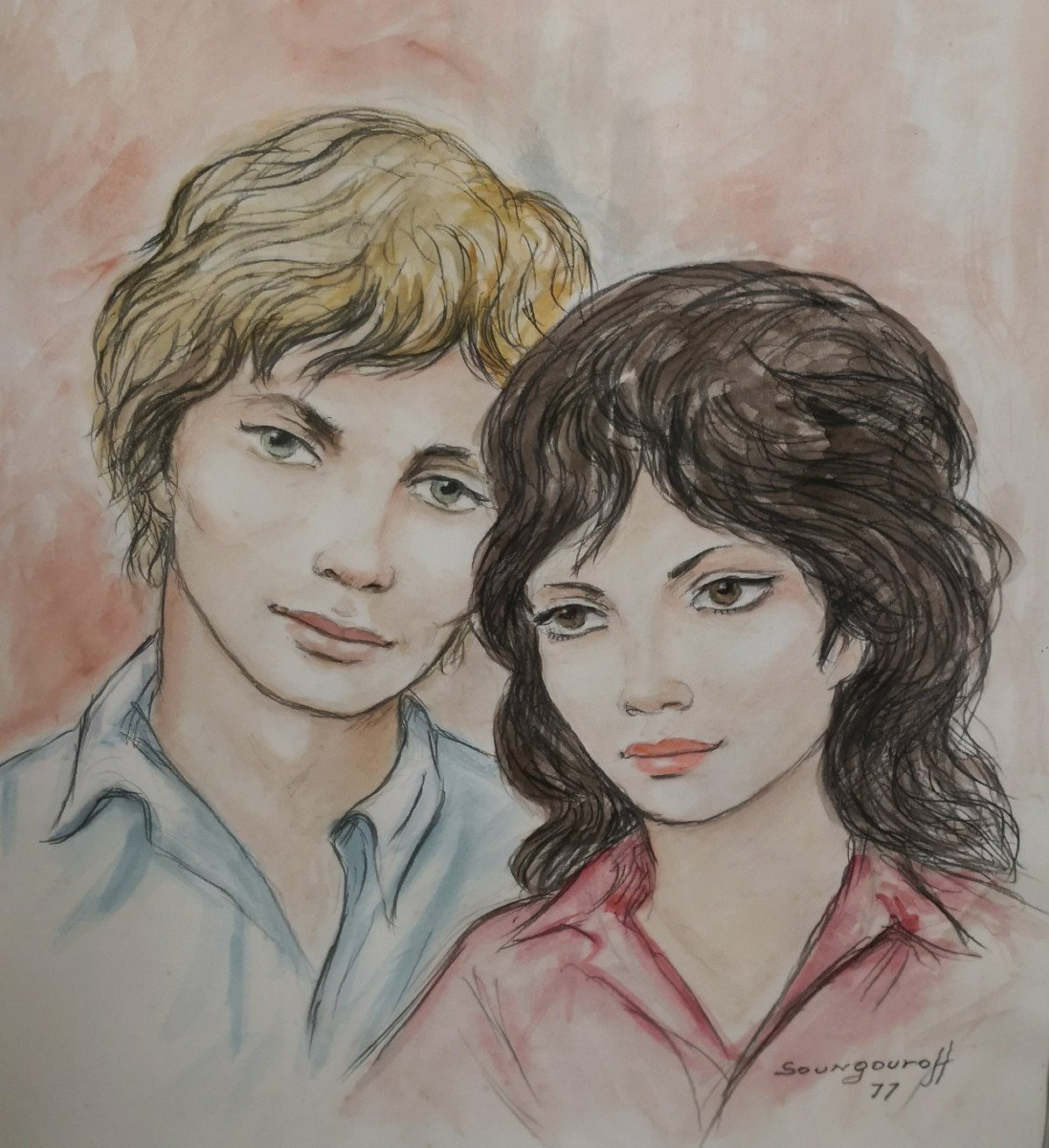 Watercolor Drawing Couple Signed And Dated Soungouroff 1977-photo-2