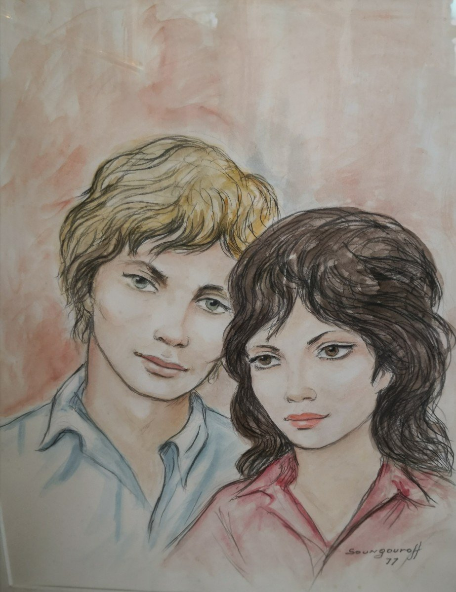 Watercolor Drawing Couple Signed And Dated Soungouroff 1977-photo-4