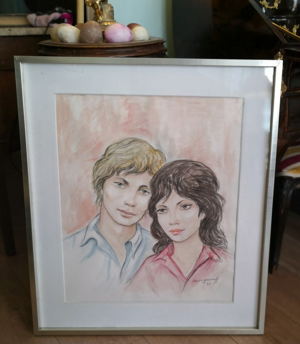 Watercolor Drawing Couple Signed And Dated Soungouroff 1977