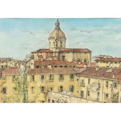 Tableau Aquarelle Vue De Florence En Italie Signé James Reeve (1939)