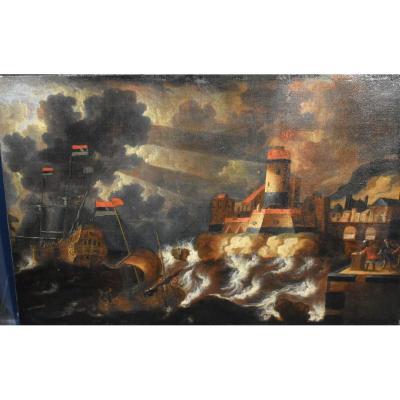 Tableau  Ancien Marine Animée île Sarde Navires Ottomans Peter Van Den Velde (1634-c.1707)