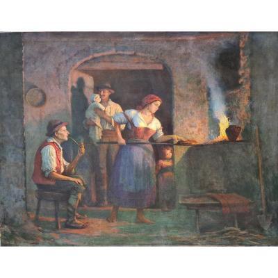 Tableau Ancien Scène De Genre Boulangerie Pizzeria Milan Signé Bernardo Biancale Réalisme1899